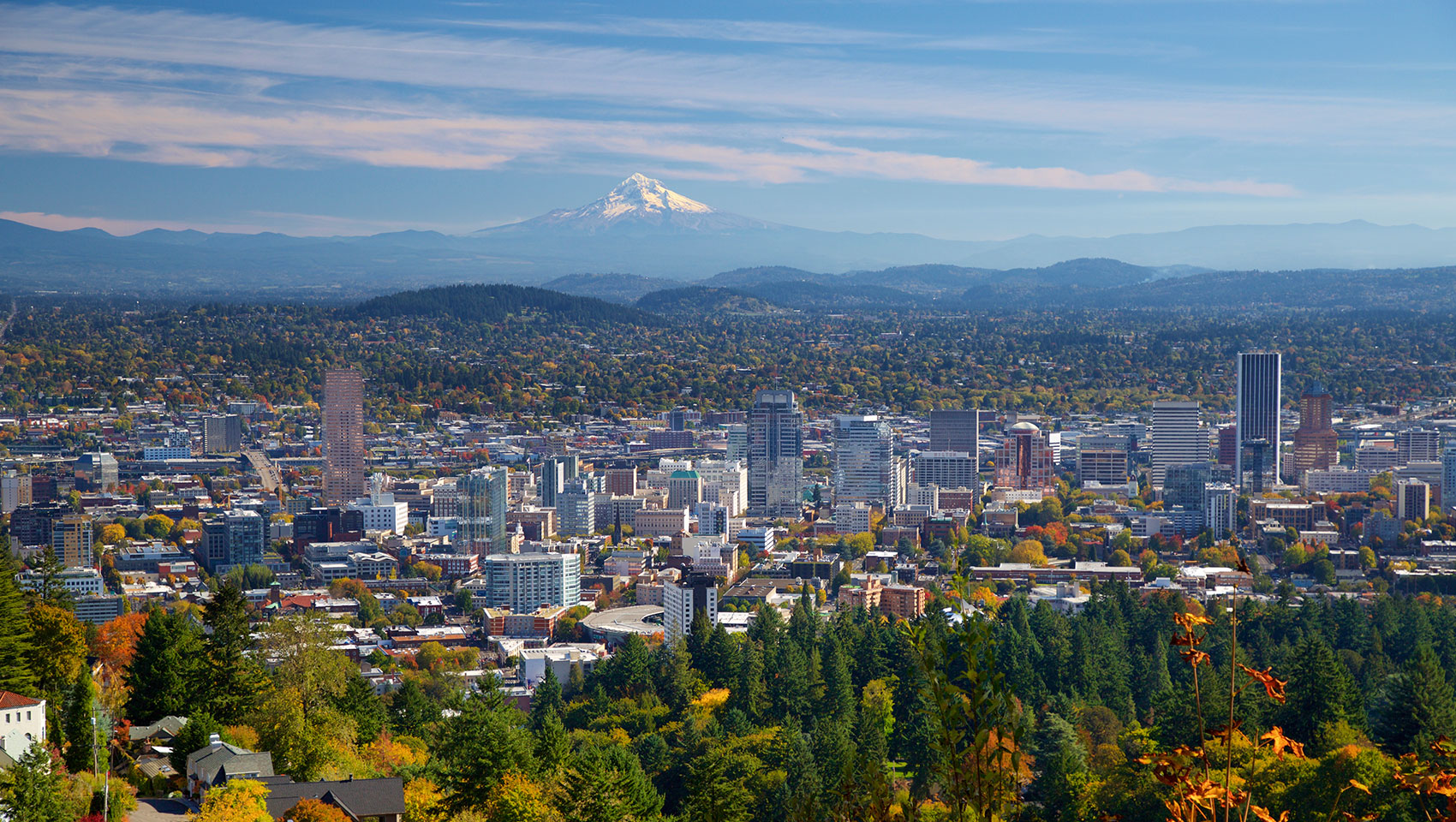 Portland in the fall with Mt. Hood