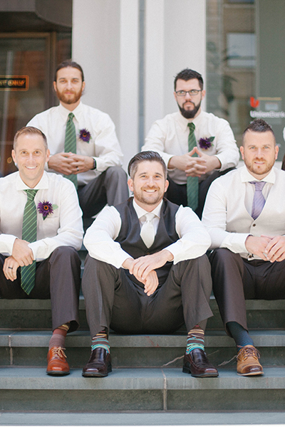 groomsman in downtown Portland wedding