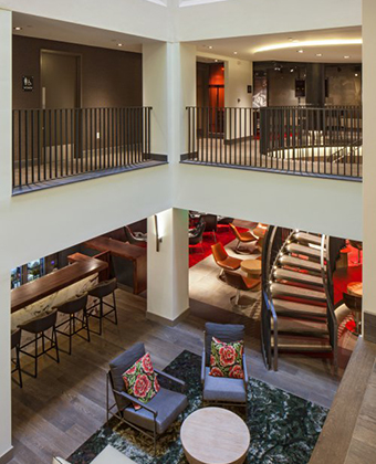 two story hotel lobby in Portland