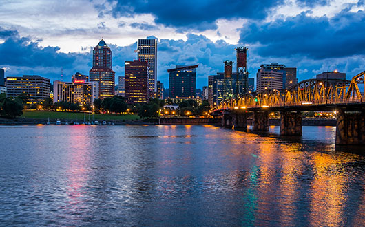 waterfront-view-of-downtown-portland-with-buildings-and-bridge